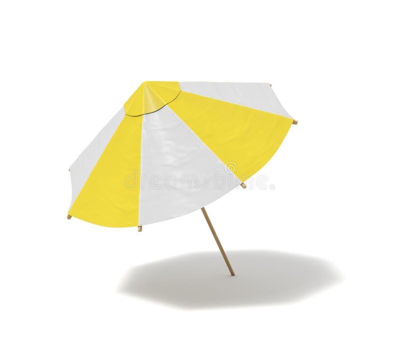 3d一把孤立海滩伞的翻译有白色和黄色条纹的在白色背景 皇族释放例证