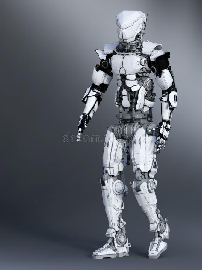 3D一未来派机器人走的翻译 向量例证