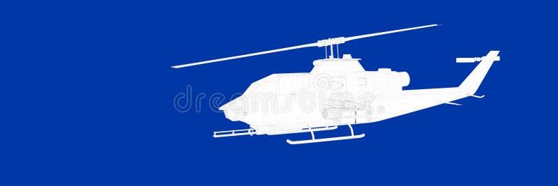 3d一架直升机的翻译在一张蓝色背景图纸的 库存例证