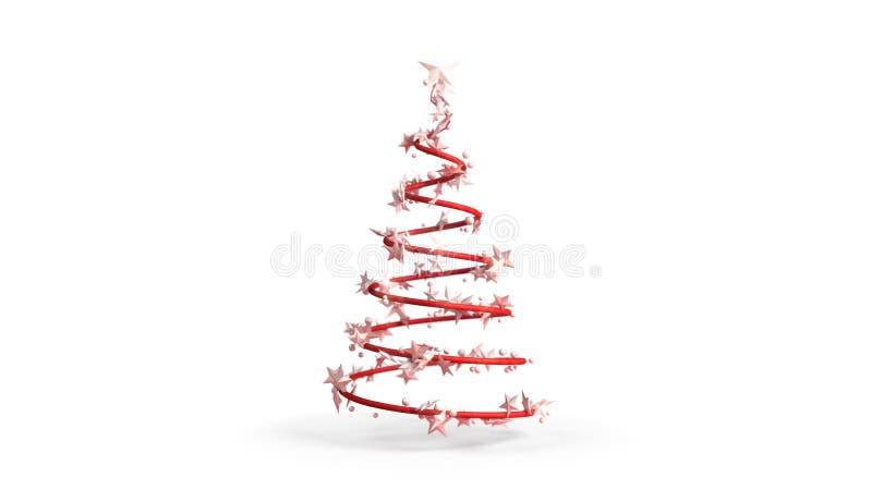 3D一棵圣诞树的例证在白色背景的 向量例证