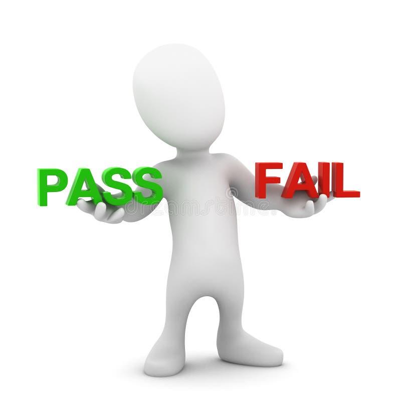 3d一点人通行证或失败 向量例证