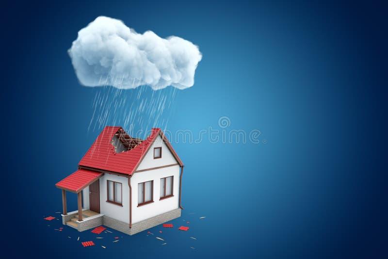 3d一点独立式住宅翻译有大孔的在屋顶,站立在多雨云彩下,在与拷贝的蓝色背景 向量例证