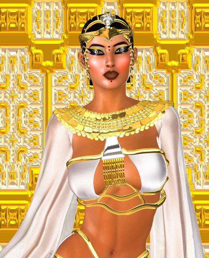 3d一盘象棋女王/王后白色 一个女神的埃及数字式艺术幻想图象白色和金子的 库存例证