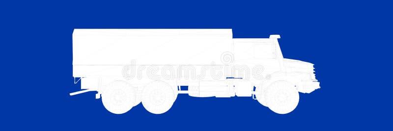 3d一辆卡车的翻译在一张蓝色背景图纸的 皇族释放例证