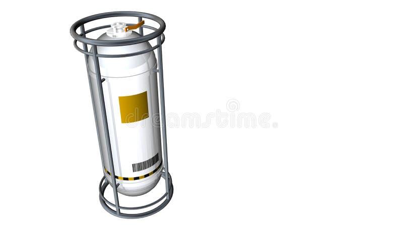 3D一辆反射性白合金容器坦克的模型与在白色背景从上面看的黄色标签的 库存例证