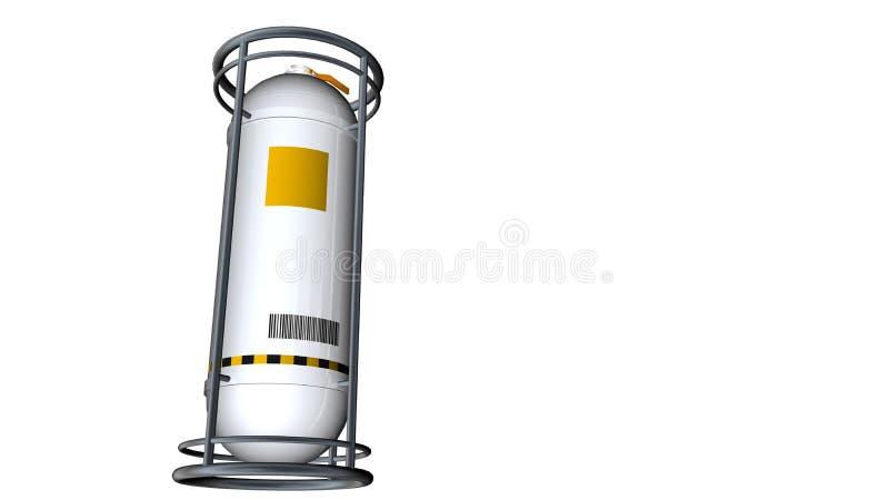 3D一辆反射性白合金容器坦克的模型与在白色背景从下面看的黄色标签的 向量例证