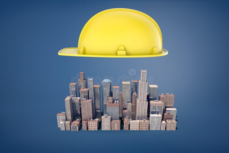 3d一顶大黄色建筑安全帽的翻译在小企业摩天大楼群上盘旋 免版税库存图片
