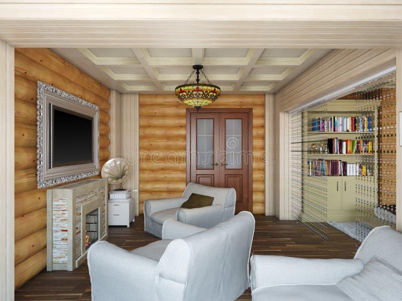 3D一间卧室的室内设计的例证在房子里为 向量例证