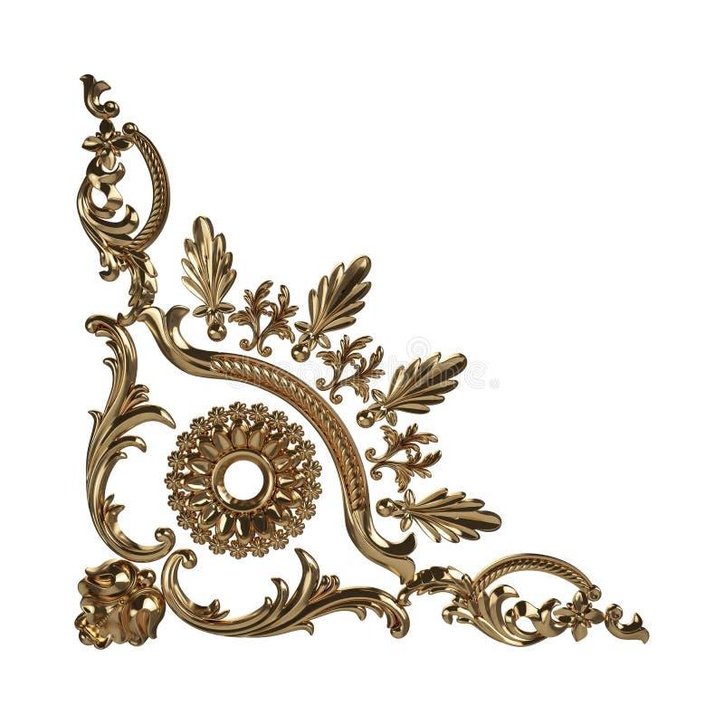 3d一件古老金装饰品的套在白色背景的 向量例证