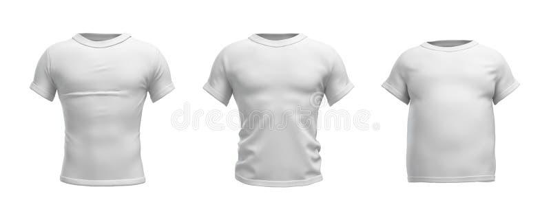 3d一件白色T恤杉的翻译在现实亭亭玉立,肌肉和肥胖形状的在白色背景的正面图 向量例证