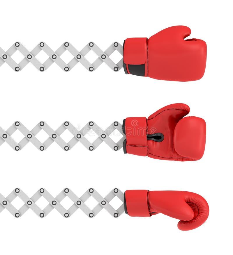 3d三个相似的拳击手套翻译用不同的角度其中每一个附有金属剪胳膊 皇族释放例证
