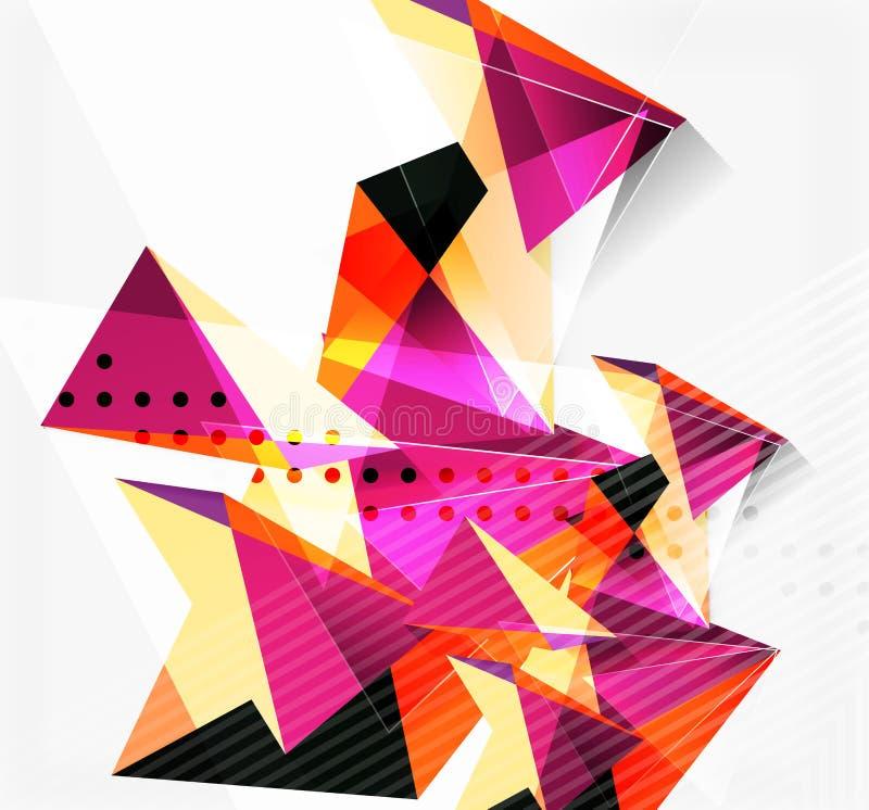 3d三角和金字塔,抽象几何传染媒介 向量例证
