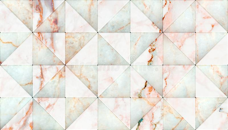 3D三角形状盘区翻译,您的项目或室内设计装饰瓦片&元素的物质白色大理石 向量例证