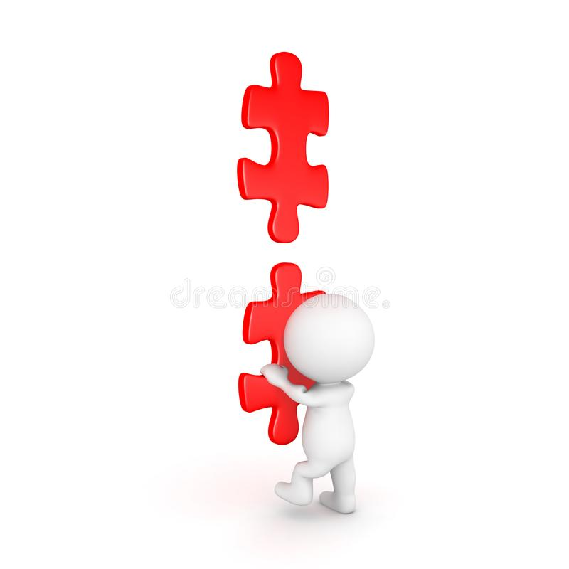 3D上升在梯子的字符由红色难题制成编结 向量例证
