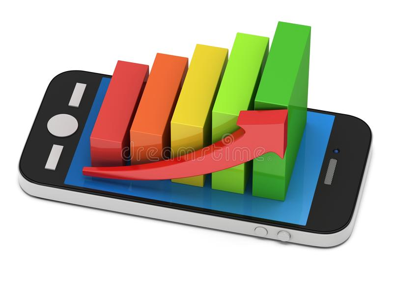 3d上色了与红色箭头的长条图在智能手机 向量例证