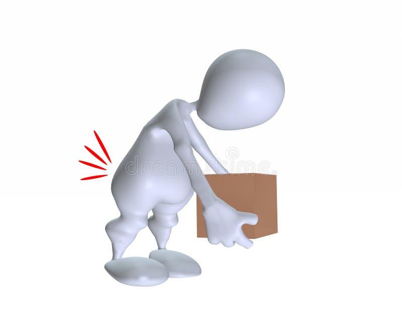 3d不正确地举一个重的箱子的人 库存例证