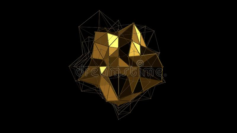 3D不规则形状,低多角形抽象图金属金水晶的例证,在黑背景 未来派 库存例证
