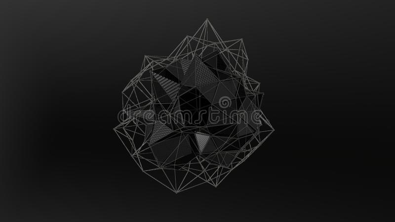 3D不规则形状,低多角形抽象图黑水晶的例证,在黑背景 未来派设计 3d 皇族释放例证