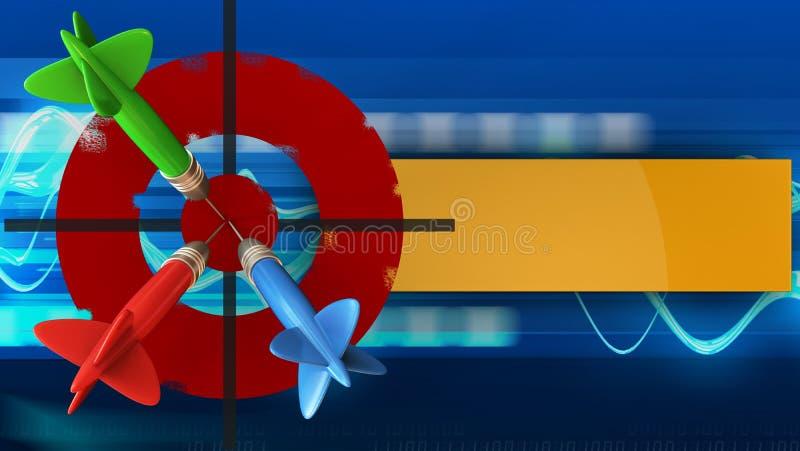 3d与三支箭的被绘的目标 库存例证