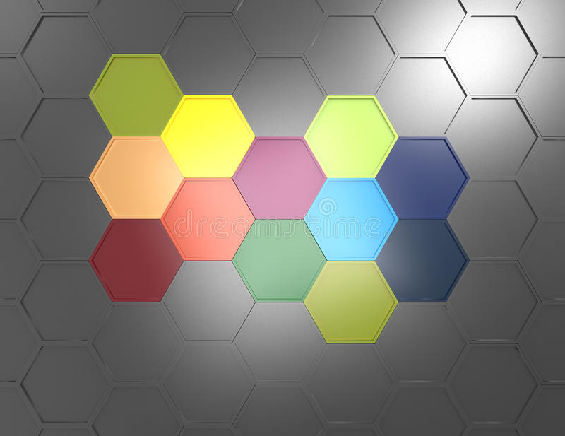 3d与五颜六色的六角形的几何背景 库存例证
