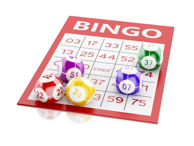 3d与五颜六色的球的红色宾果游戏卡片 皇族释放例证