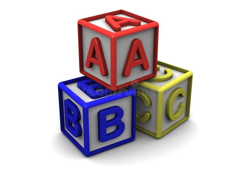 B C在立方体堆上写字 皇族释放例证