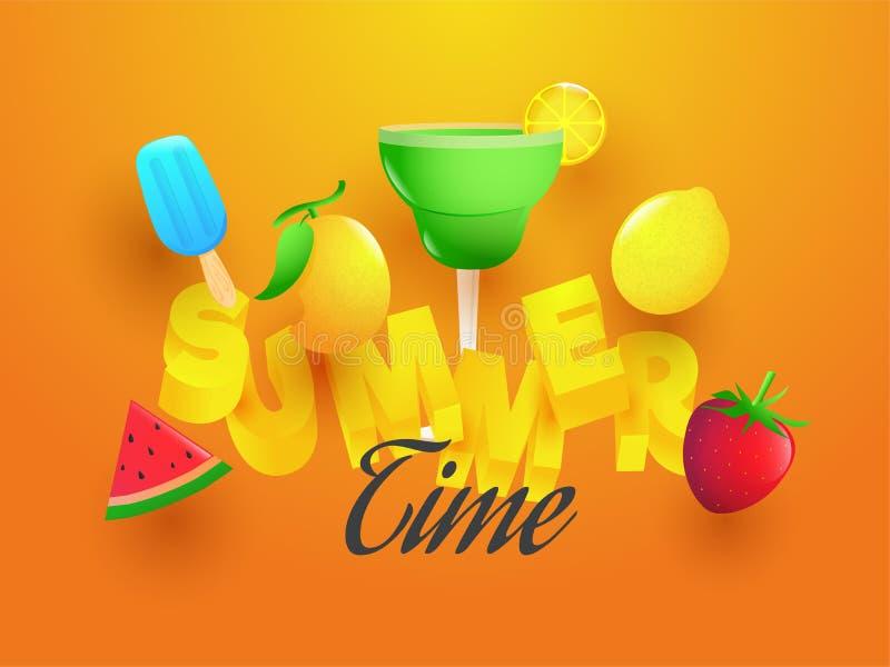 3D与元素的文本夏天例如芒果、柠檬、冰淇淋、mocktail、西瓜和草莓例证 向量例证