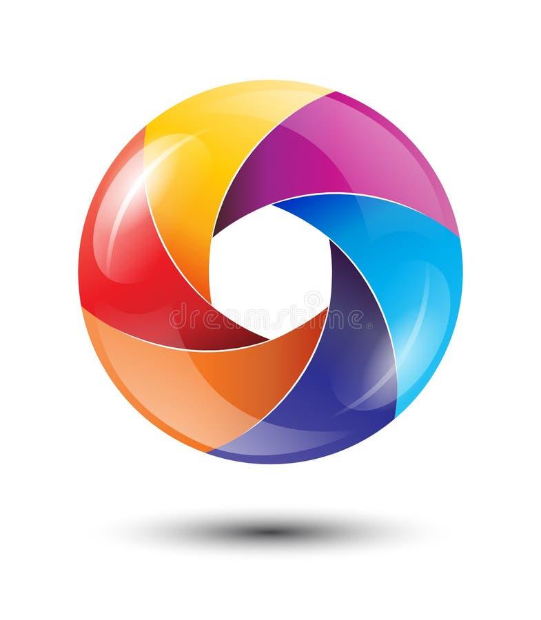 3D与光滑的刀片的彩虹圈子五颜六色的商标 库存例证