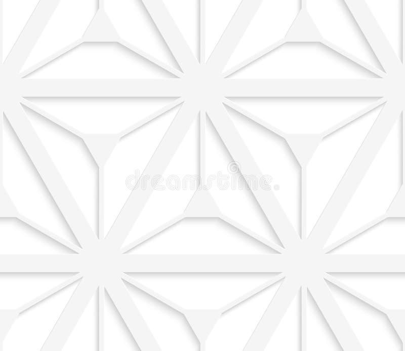 3D与六个光芒星的白色栅格 库存例证