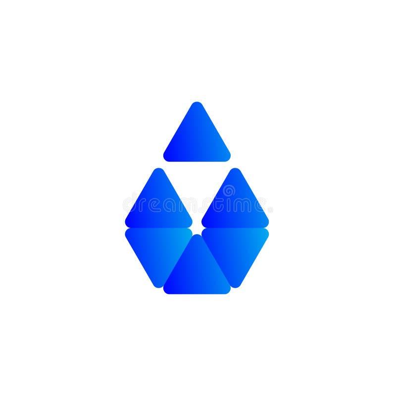 3d与几何shaphe的蓝色商标 皇族释放例证