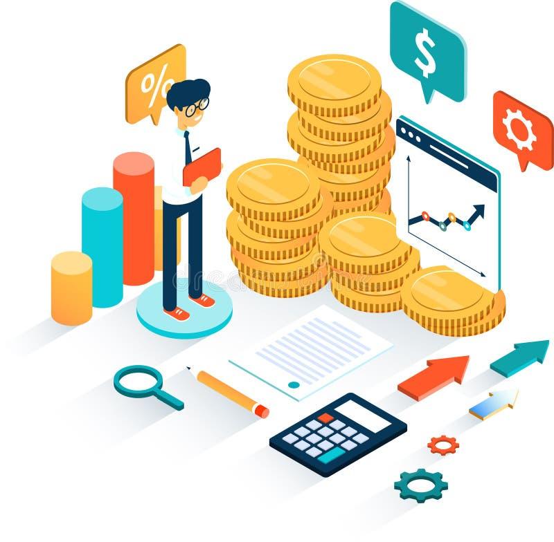 3d与分析各种各样的图的商人的企业infographics作为任何财务分析的概念在白色 库存例证