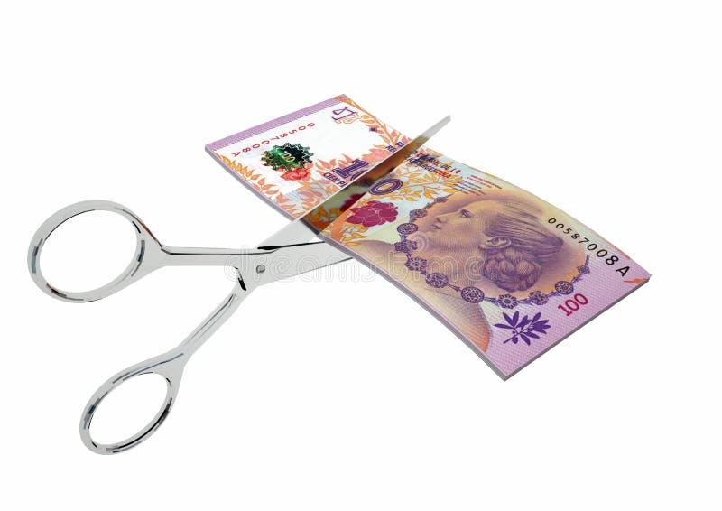 3D与剪刀的阿根廷货币 库存例证