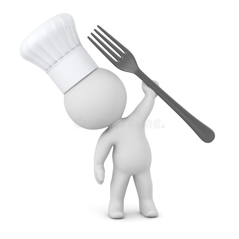 3D与厨师帽子和叉子的字符 皇族释放例证