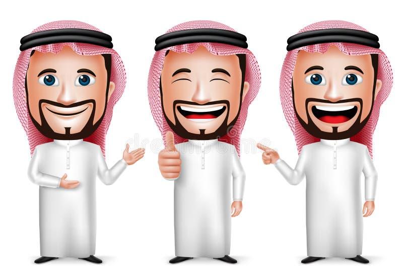 3D与另外姿势的现实沙特阿拉伯人漫画人物 向量例证