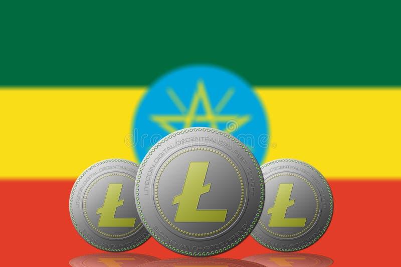 3D与埃塞俄比亚旗子的例证三LITECOIN cryptocurrency在背景 向量例证