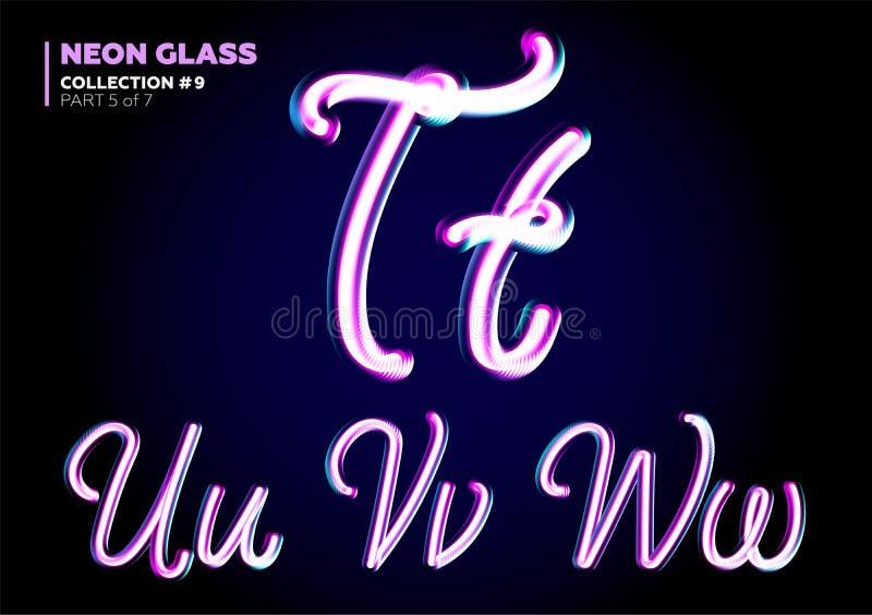 3D与夜霓虹灯作用,光滑的紫色的玻璃信件 库存例证