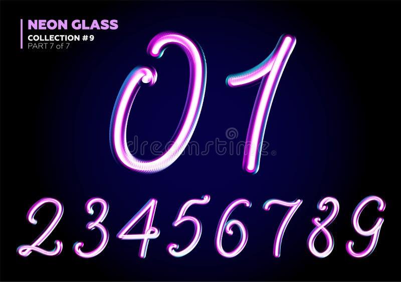 3D与夜霓虹灯作用,光滑的紫色的玻璃信件 向量例证