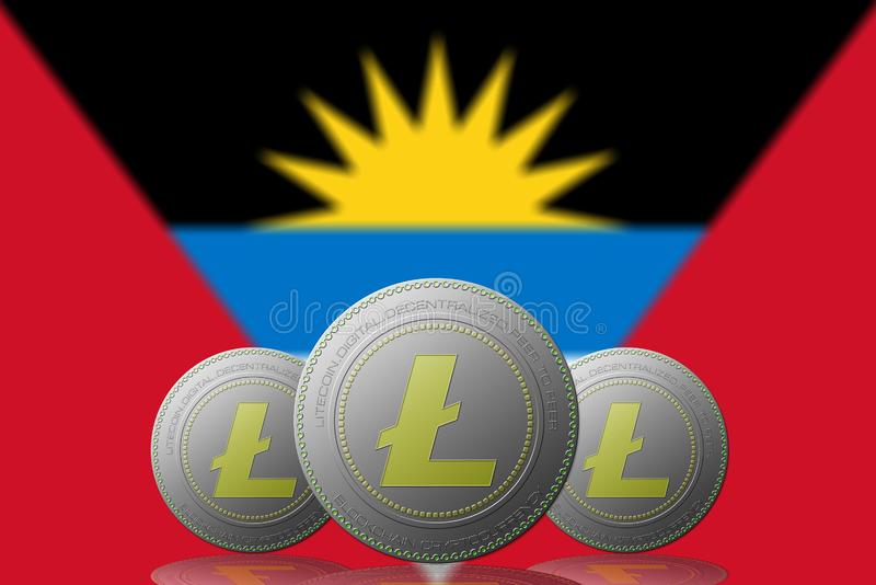 3D与安提瓜y巴布达旗子的例证三LITECOIN cryptocurrency在背景 皇族释放例证