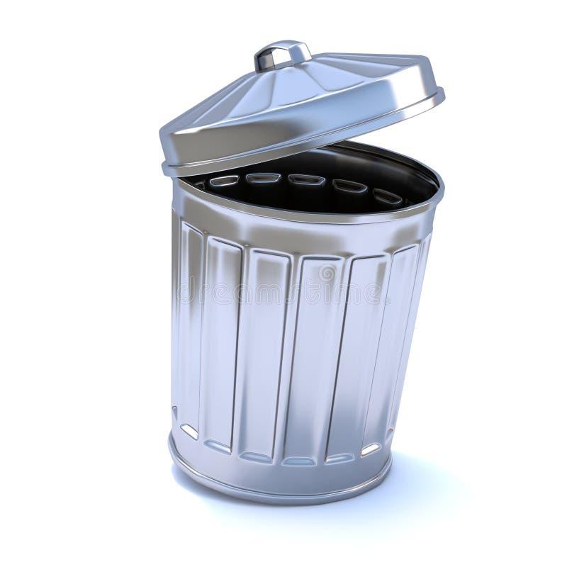 3d与开放盒盖的垃圾箱 库存例证