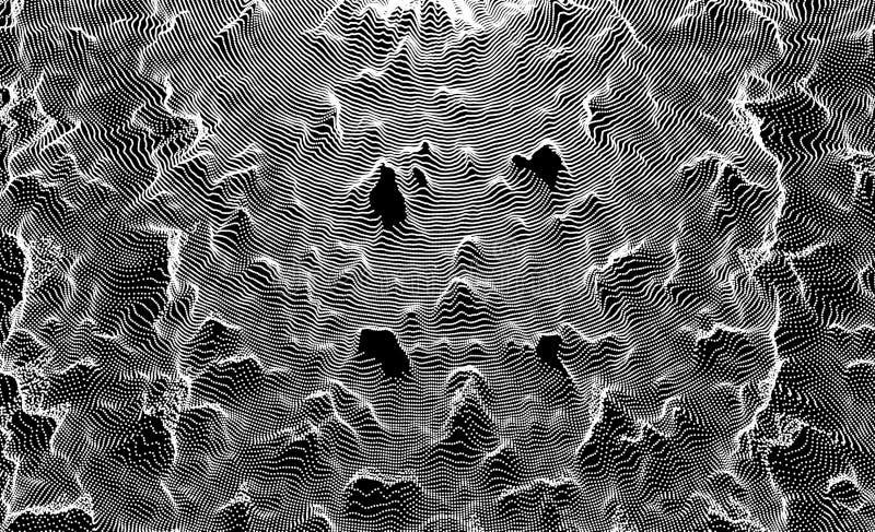 3D与微粒的栅格表面 未来派技术样式 抽象背景 行销的传染媒介例证 向量例证