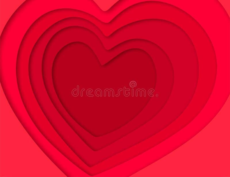 3D与心脏纸裁减的背景 皇族释放例证