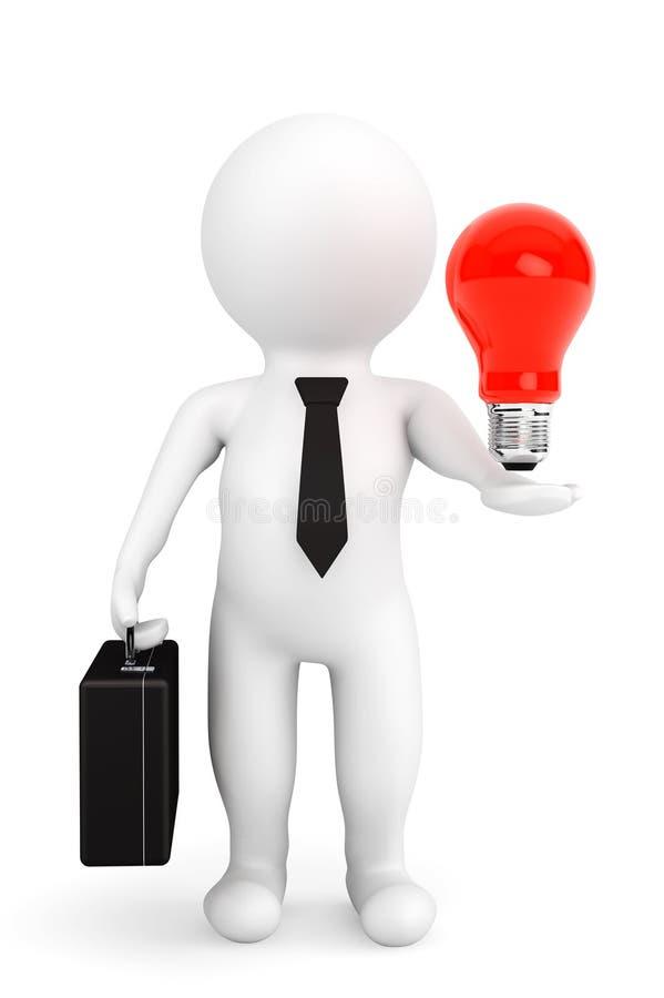 3d与想法电灯泡的人商人在手 库存例证