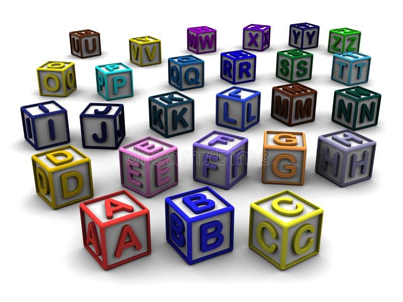 A-Z在立方体上写字 皇族释放例证