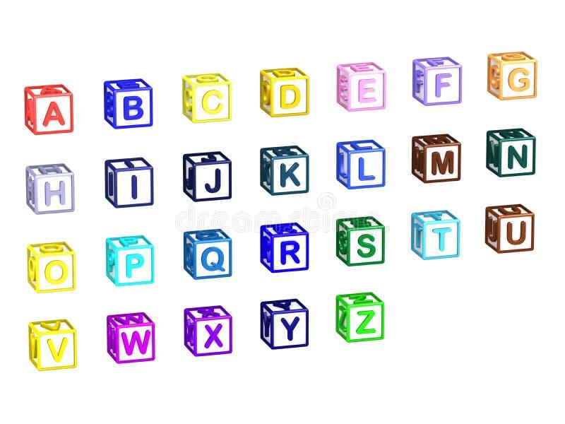 A-Z在白色隔绝的信件立方体 皇族释放例证