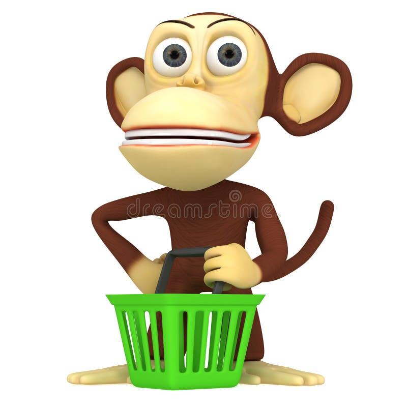 3d与手提篮的猴子 皇族释放例证