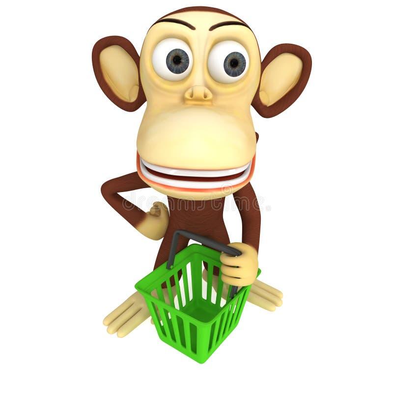 3d与手提篮的猴子 库存例证