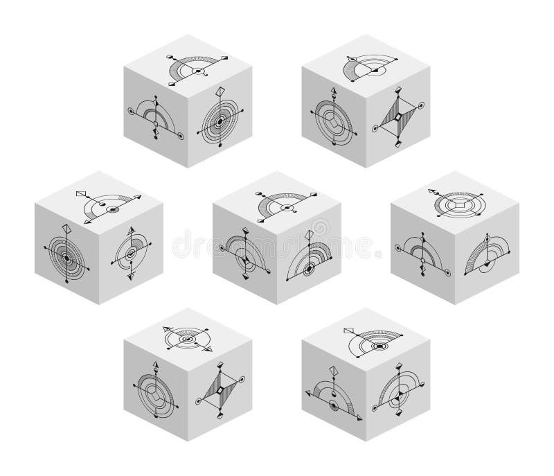 3D与抽象符号的立方体在每边 库存例证