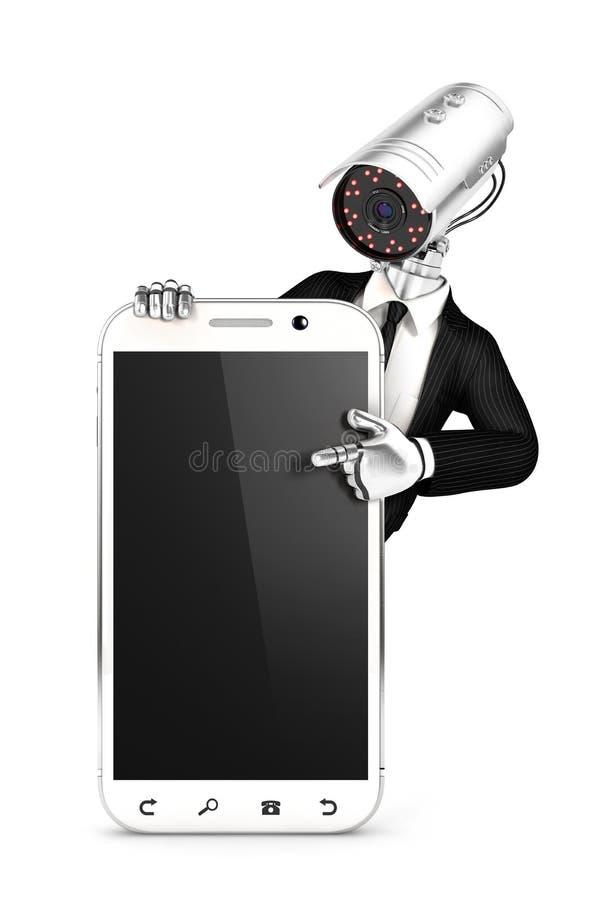 3d与指向空白的智能手机的照相机头的警卫 皇族释放例证