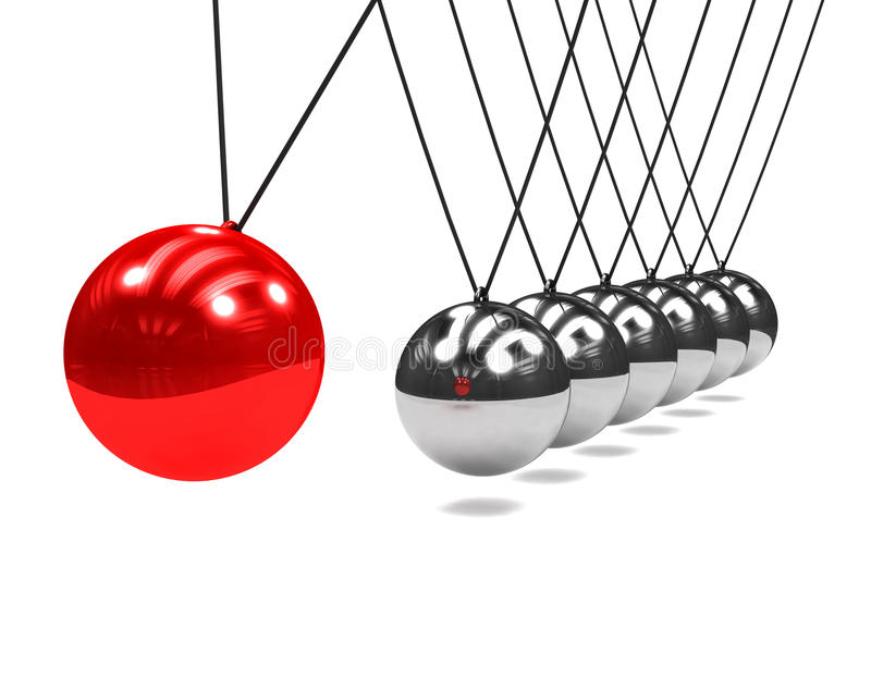 3d与摇摆红色球的牛顿摇篮 向量例证