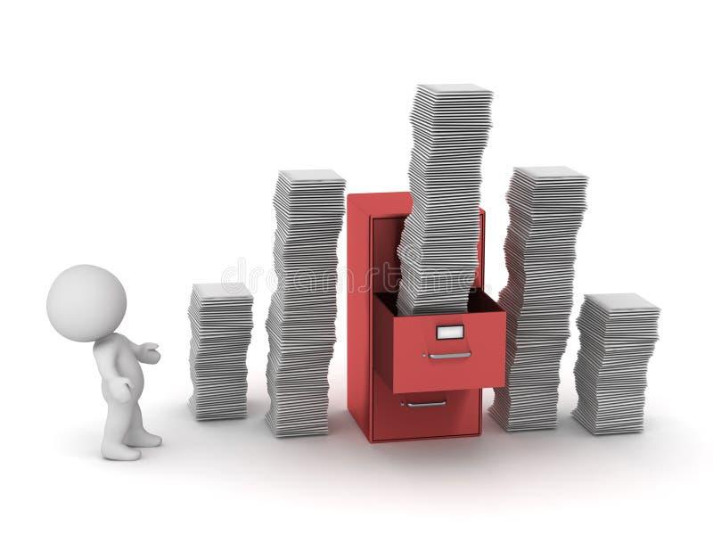 3D与文件柜和堆的字符纸 向量例证